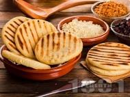 Домашни бързи плоски царевични питки за сандвичи на скара / грил тиган